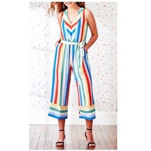 Luxology Cropped Wide Leg Striped Jumpsuit Medium